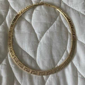 Greek 18k Gold and diamond necklace